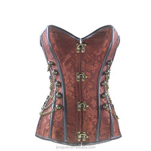 Plus Size S-5XL Steampunk Chain Brocade Straps Corset Women Lace Up Black Striped Gothic Punk Overbust Corset