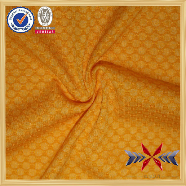 polyester/cation/spandex yellow color dobby mesh fabric