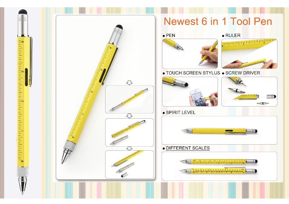 xmas promo gift 6 in 1 metal copper Tech Tool touch Pen with Scale, Levelgauge, Ballpoint Pen, Sty