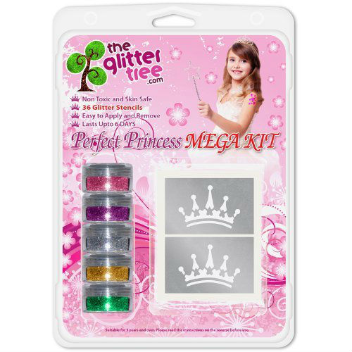 Girls Princess Glitter Tattoo Kit