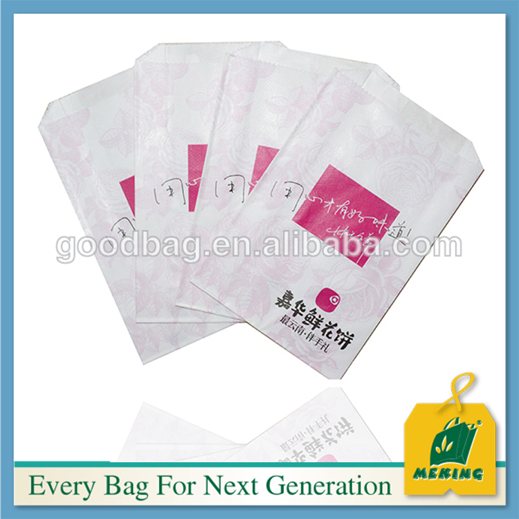 White kraft small cake flat paper bag with logo printed