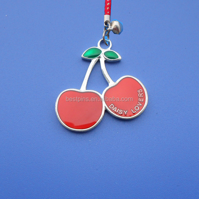 cute cherry shape metal charm Christmas tree decorate with blink glitter
