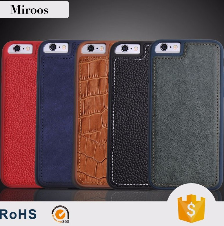 Miroos Mobile accessories Genuine Leather custom design cell phone case for apple iPhone 6 6s