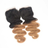 2015 new products ombre hair extension lace closure cheap brazilian human hair body wave 4*4inch free parting lace closure
