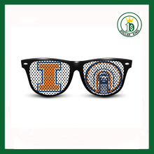 Cheap promotional custom sticker logo printed lenses pinhole sunglasses for party