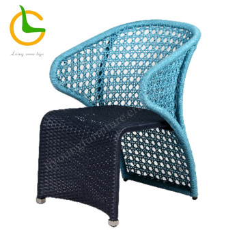 Blue rope woven aluminum outdoor cafe chair