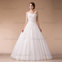 HM9687 Heavy Beaded Ball Gown One Shoulder China Factory Wedding Dress Pattern with Sweetheart Neckline