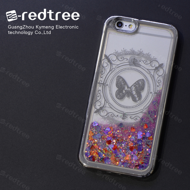 Electroplating Star Printed purple Liquid Samrt Mobile Phone Cover Case for Iphone 5 6s 6plus 7