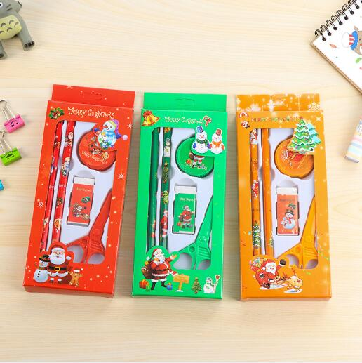 5pcs/box Christmas Gift Stationery Set Children <strong>School</strong> Supplies 3 Color Options