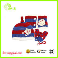 High quality infant hat glove and scarf set