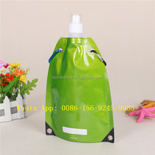 Logo Printed drink plastic reusable food liquid stand up spout pouch packaging with spout and hang hook for baby food packaging