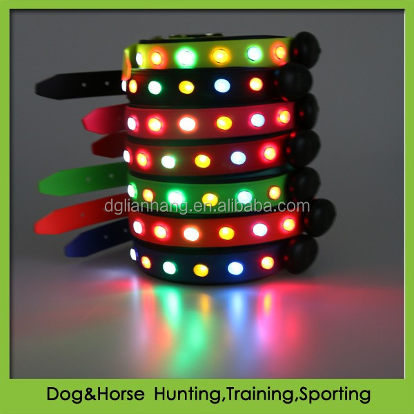 Pet accessories PVC led dog collar rechargeable waterproof