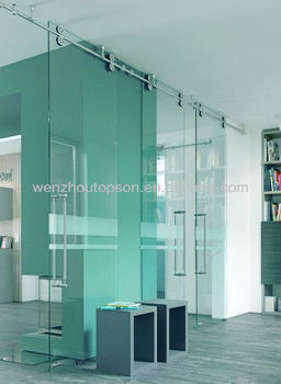 69mm sliding roller glass partition wall/ office clear glass door