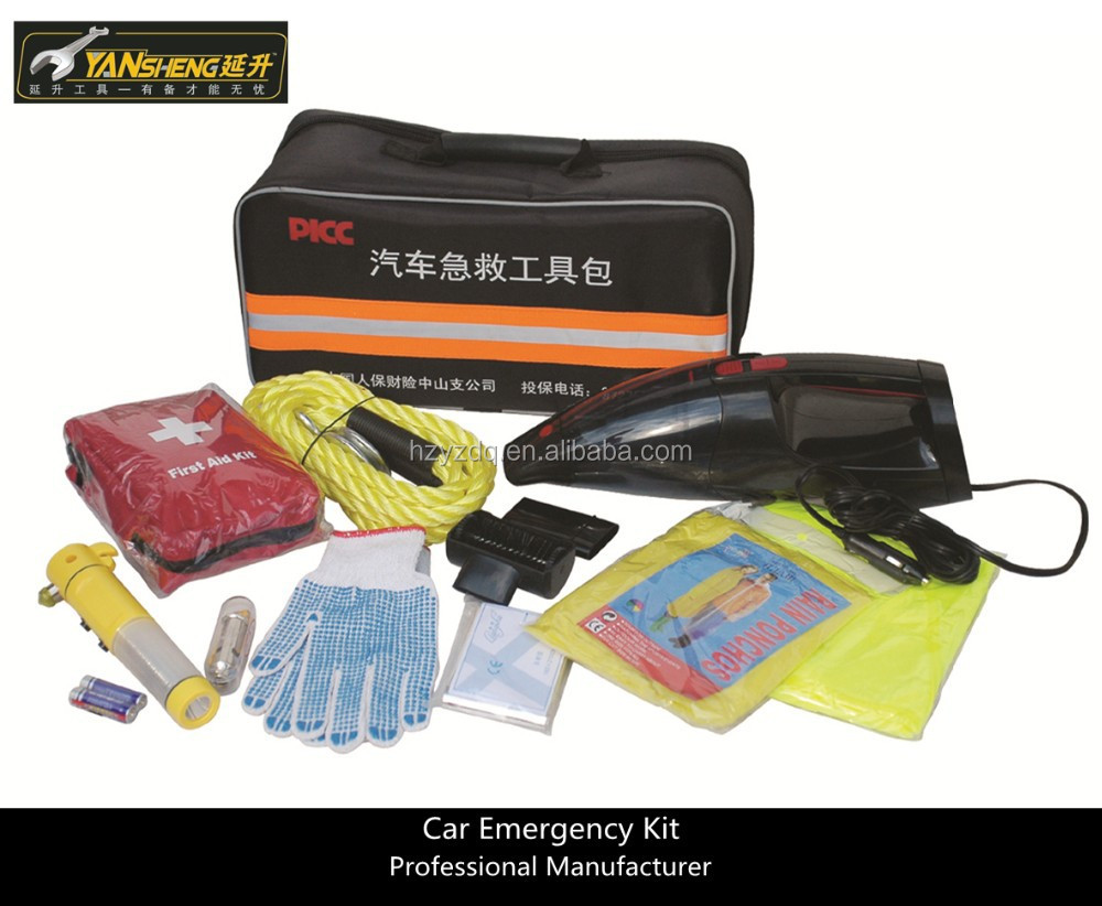 12 Piece Auto Safety Kit with car vacuum cleaner , Auto Emergency Tools