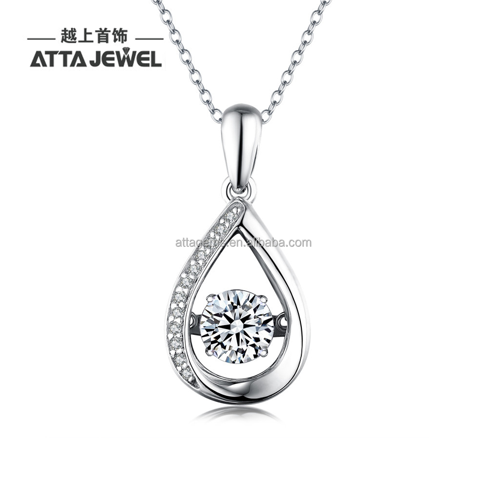 dancing stone silver pendant with white cubic zirconia pendant in silver with 925 silver
