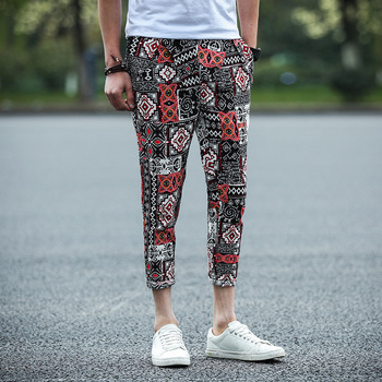 MS70958G New style men summer linen ninth pants