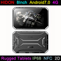 HIDON 8 Inch Rugged Tablets Android7.0 OS 2.0M+8.0M Camera 4G IP68 NFC 1D/2D Barcode RFID Tablets