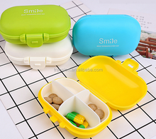 High Quality Portable Plastic Pillbox, Custom Made Pill Box with lock four small points