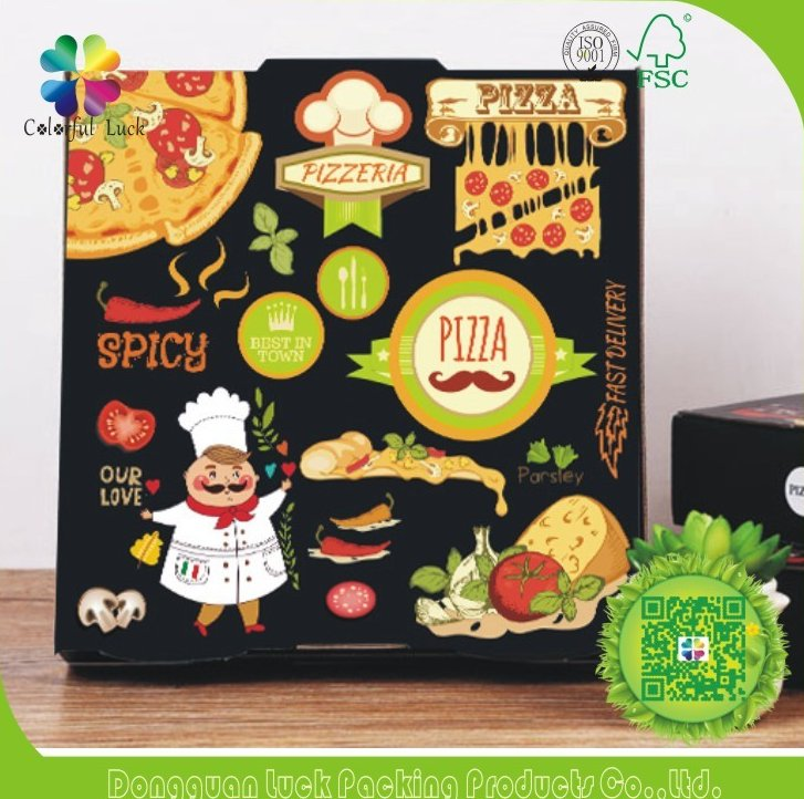 Cardboard Pizza Display Take Away wax coated Paper Food Packaging