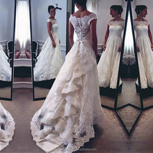 Latest Designs Wedding Dress Bridal Lace Pattern Ruffles Wedding Gown of Manufacturing