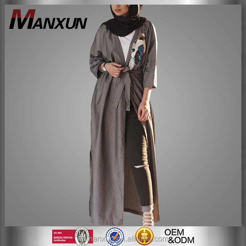 Open Abaya Women Islamic Abaya And Hijab Strips Long Sleeves Muslim Dress