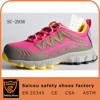 latest ladies shoes design steel toe rubber women safety shoes pink SC-2936