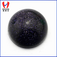 High quality gold sandstone loose flat bottom cabochon black round glass beads