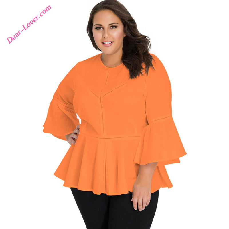 <strong>Orange</strong> Stylish Crochet Insert Bell Sleeve Three Quarter Sleeve Plus Size Tops