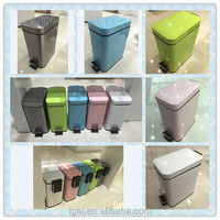 5L Color coded stainless iron pedal dust bin garbage bins
