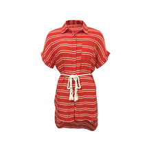 New Fashion 100%Organic Cotton Ladies Unique Half Sleeve Hidden Buttons Red Color Summer Beach Dress Shirt with Cotton Rope Belt