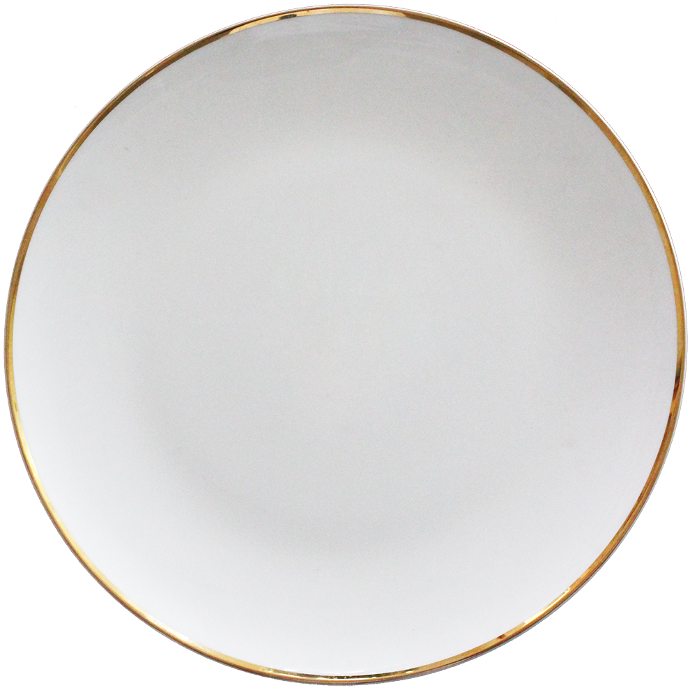 Wholesale Christmas Ceramic White Dishes Gold Rim Bone China Gold Charger Plate for Restaurant