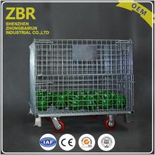 Rolling Security Storage Detachable Metal Wire Crate Containers Steel Pallet Cages