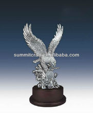 Plating sliver resin eagle statue