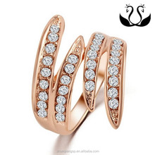 Hot selling inlaid zircon rose glod plated fashion lady Angel wings ring