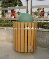 Western fashion wood plastic composite dustbin