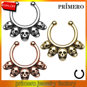 Fake Nose Stud Five Skull Septum Hanger Clip-On Fake Nose Ring Surgical Steel Fake Septum Piercing Body Jewelry