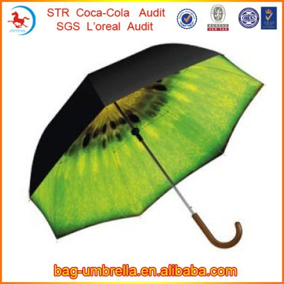 Creative Design Outside Black Inside Kiwi Fruit Umbrella
