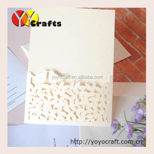 laser wedding souvenirs decorations ivory pearl love birds on leaves folding wedding invitations cards,printed insert