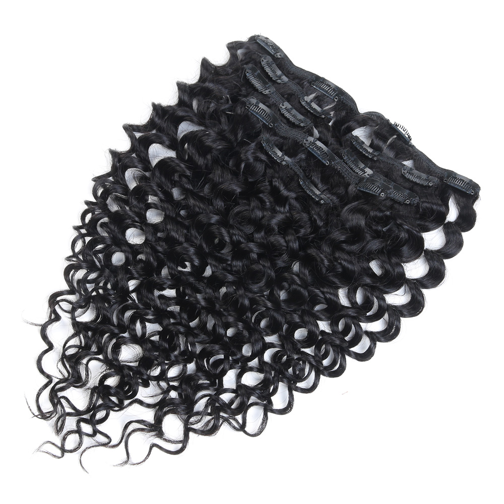Rebecca jerry curl unprocessed original raw brazilian virgin remy hair 7 piece in one package clip in human hair weave extension