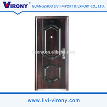 Cheap price black walnut color metal steel security door with steel door frame for house