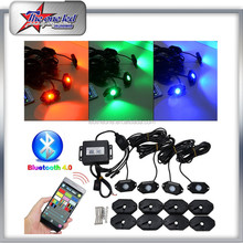 2017 Hot Selling 36W 4Pods Bluetooth Control RGB Rock Light Mini IP68 WaterproofLED Under Car Truck Jeep Rock Light