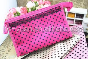 Promotional Cheap Simple Polyester Zipper Cosmetic Gathering Toiletry bag