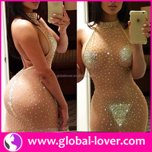 Wholesale African Apparel 2016 China Latest Hot Rhinestone Sex Nude Net Dress Designs
