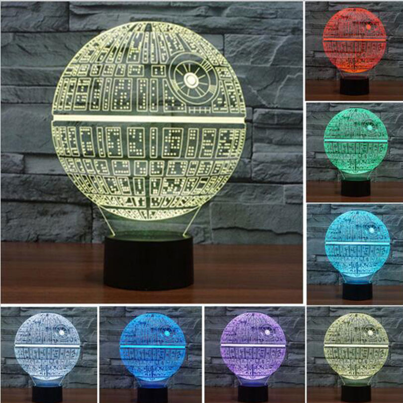 Multi-colored Death Star Table Lamp 3D Bulbing Light Touch Switch Lava Lamp