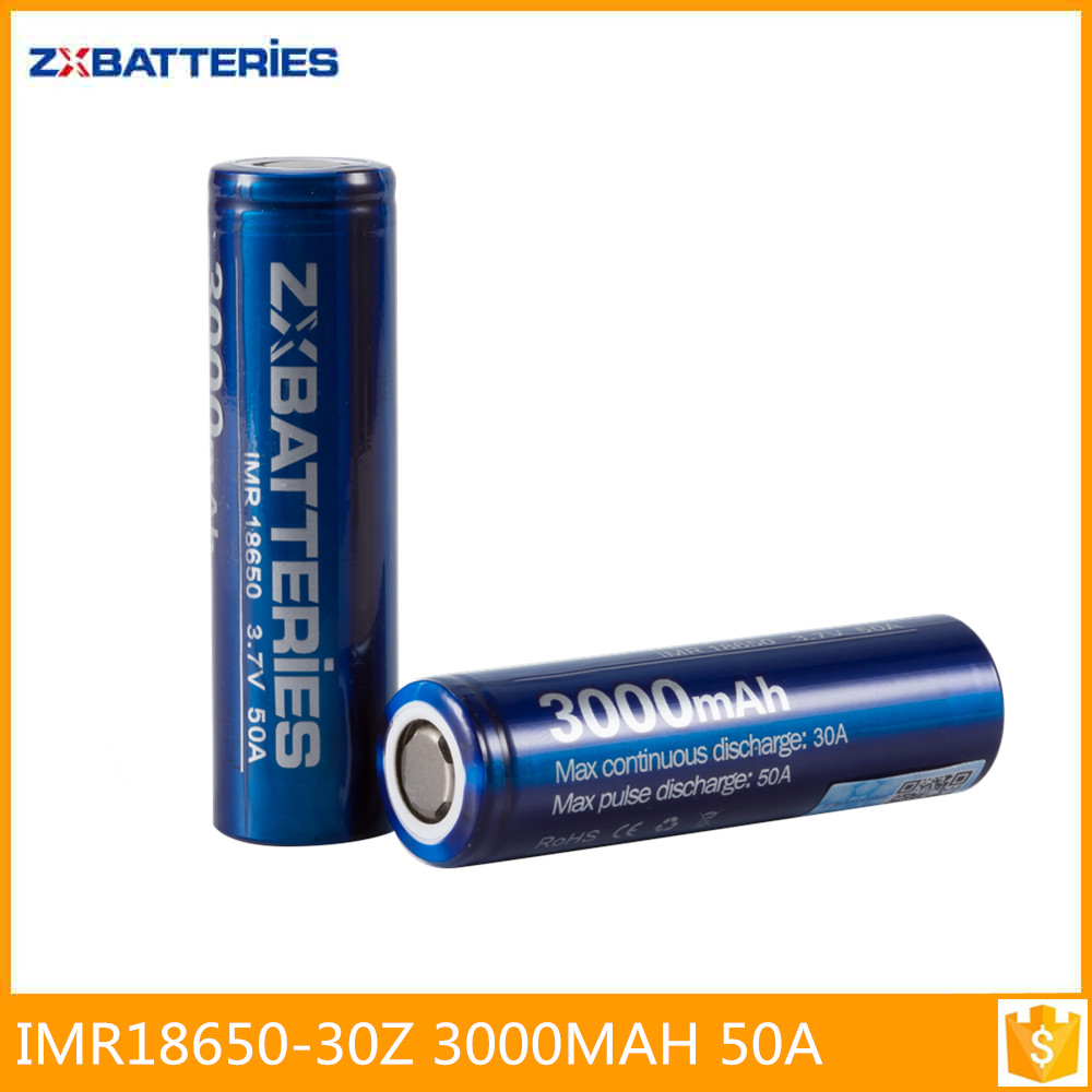 Zxbattery 3000mah 50A 18650 battery with tabs Batteries