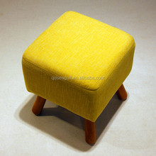 2016 hotsale wooden legged line fabric home ottoman and footstool/removed and washed fabric /good quanlity and low price