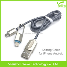 Yaika New Design Zinc Alloy 2 in 1 USB Data Charging Cable for iPhone Samsung