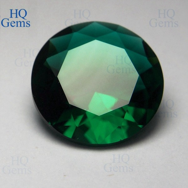 Round Green Faceted Synthetic Emerald