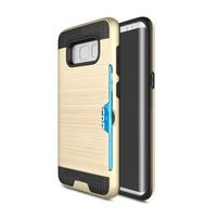 For Samsung S8 Case Back Cover Brushed Hybrid TPU Plastic Wallet Cover Phone case with ID Credit Card Slot Holder