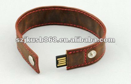 Shenzhen Factory 64GB leather bracelet usb flash drive for promotional and cyustomized logo